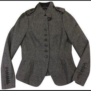 {Zara} Charcoal Military Style Wool Jacket Blazer